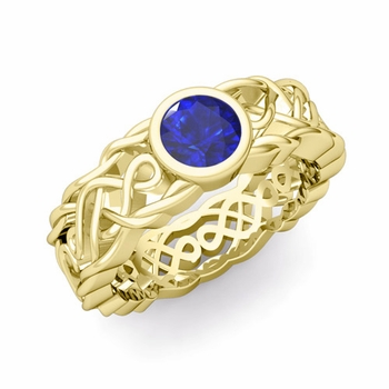 Solitaire Sapphire Ring in 18k Gold Celtic Knot Wedding Band, 5.5mm