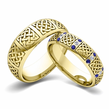 Matching Wedding Band in 18k Gold Diamond and Sapphire Celtic Wedding Ring