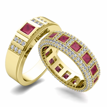 Matching Wedding Band in 18k Gold Princess Cut Ruby and Diamond Ring