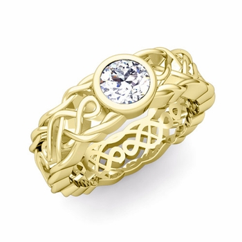 Solitaire Diamond Ring in 18k Gold Celtic Knot Wedding Band, 5.5mm