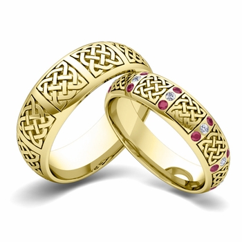 Matching Wedding Band in 18k Gold Diamond and Ruby Celtic Wedding Ring