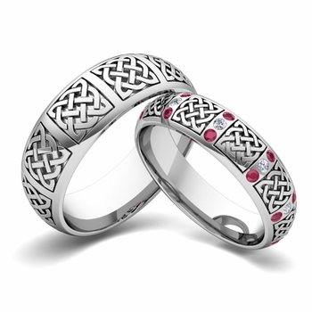 Matching Wedding Band in Platinum Diamond and Ruby Celtic Wedding Ring