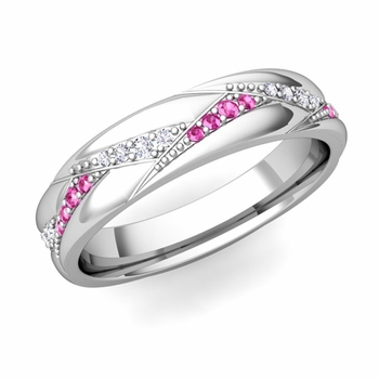 Wave Wedding Band in 14k Gold Diamond and Pink Sapphire Ring, 5mm