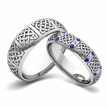 Matching Wedding Band in 14k Gold Diamond and Sapphire Celtic Wedding Ring