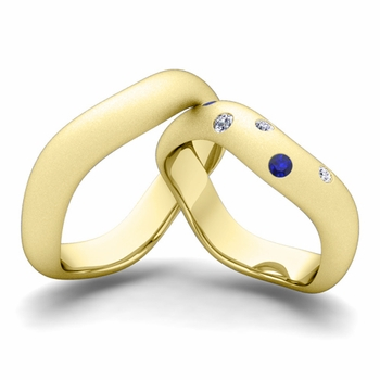 Matching Wedding Band in 18k Gold Curved Diamond and Sapphire Wedding Ring