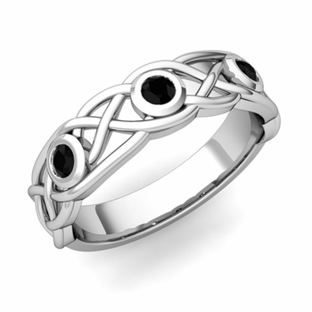 Celtic Knot Black Diamond Wedding Ring Band in Platinum, 5mm