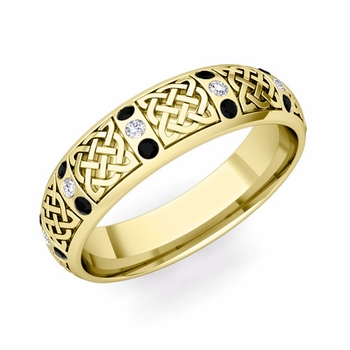 Black Diamond Wedding Ring in 18k Gold Celtic Knot Wedding Band, 6mm