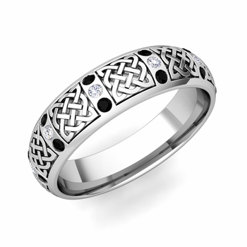 Black Diamond Wedding Ring in Platinum Celtic Knot Wedding Band, 6mm