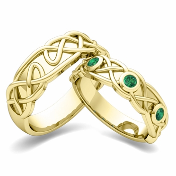 Matching Wedding Band in 18k Gold Celtic Knot Emerald Wedding Ring