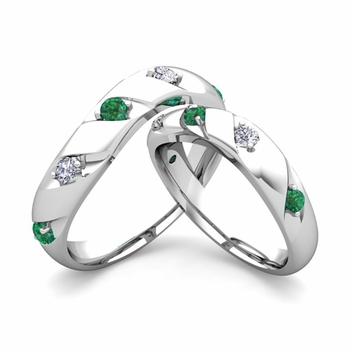 Matching Wedding Band in 14k Gold Curved Diamond and Emerald Wedding Rings
