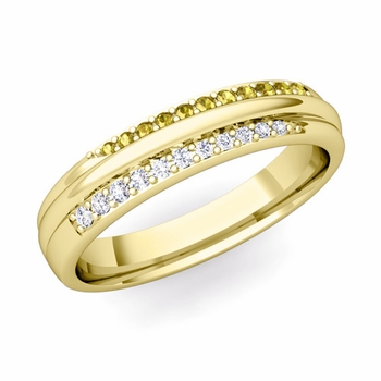Brilliant Pave Diamond and Yellow Sapphire Wedding Ring in 18k Gold, 3.5mm