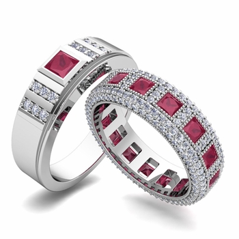 Matching Wedding Band in Platinum Princess Cut Ruby and Diamond Ring