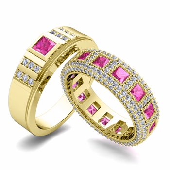 Matching Wedding Band in 18k Gold Princess Cut Pink Sapphire and Diamond Ring