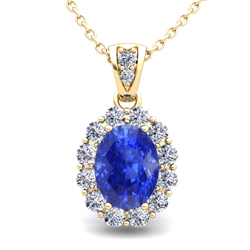 Halo Diamond And Ceylon Sapphire Necklace 18k Gold Pendant