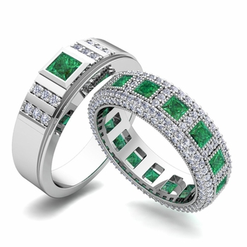 Matching Wedding Band in Platinum Princess Cut Emerald and Diamond Ring
