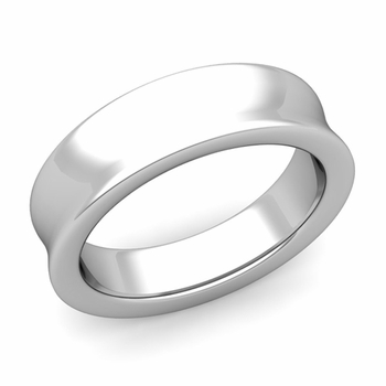 Contour Wedding Band in 14k Gold Comfort Fit Ring, 6mm