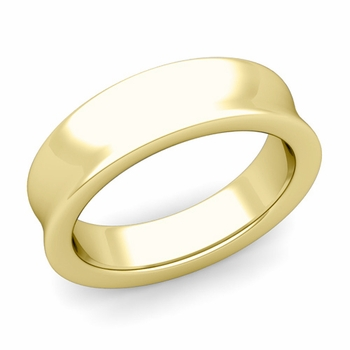 Contour Wedding Band in 18k Gold Comfort Fit Ring, 6mm