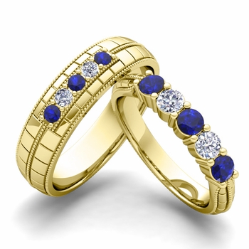 Matching Wedding Band in 18k Gold 5 Stone Diamond and Sapphire Wedding Ring