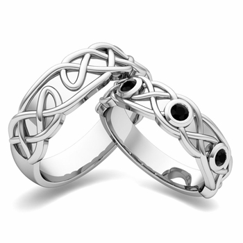Matching Wedding Band in 14k Gold Celtic Knot Black Diamond Wedding Ring