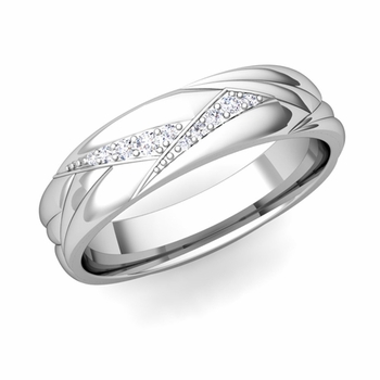 Wave Mens Wedding Band in Platinum Diamond Ring, 5.5mm