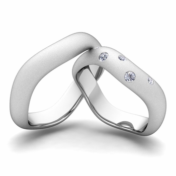 Matching Wedding Band in Platinum Curved Diamond Wedding Ring for Him and Her