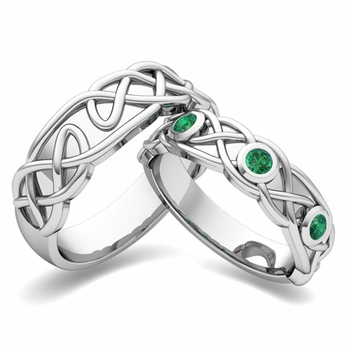 Matching Wedding Band in 14k Gold Celtic Knot Emerald Wedding Ring