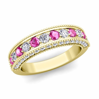 Vintage Inspired Pink Sapphire and Diamond Wedding Ring Band in 18k Gold