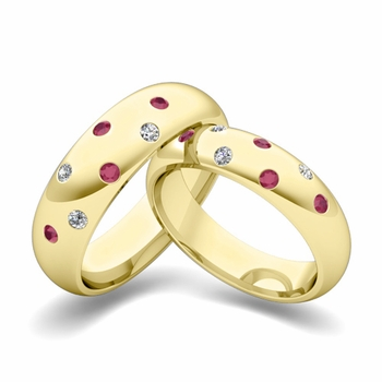 Matching Wedding Bands: Scattered Diamond and Ruby Wedding Ring in 18k Gold