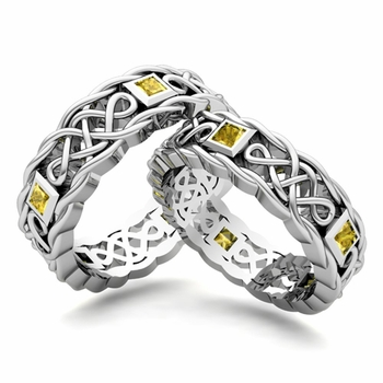 Matching Celtic Knot Wedding Band in Platinum Yellow Sapphire Wedding Ring