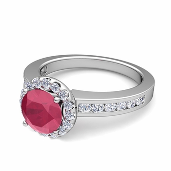 Diamond and Ruby Halo Engagement Ring in Platinum Channel Set Ring, 5mm