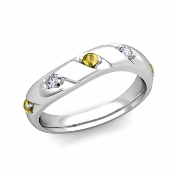 Curved Yellow Sapphire and Diamond Wedding Ring Band in Platinum, 3.5mm