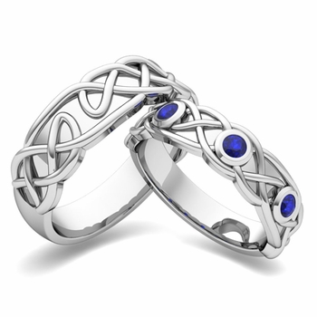 Matching Wedding Band in Platinum Celtic Knot Sapphire Wedding Ring
