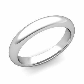 Dome Comfort Fit Wedding Band in 14k White or Yellow Gold, Polished Finish, 4mm