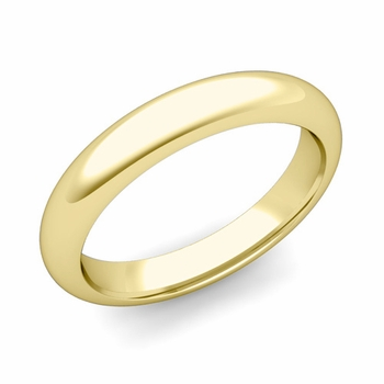 Dome Comfort Fit Wedding Band in 18k White or Yellow Gold, Polished Finish, 4mm