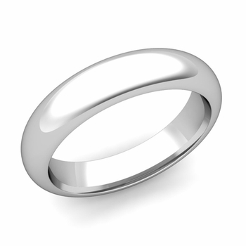 Dome Comfort Fit Wedding Band in 14k White or Yellow Gold, Polished Finish, 5mm