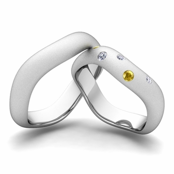 Matching Wedding Band in Platinum Curved Diamond and Yellow Sapphire Wedding Ring