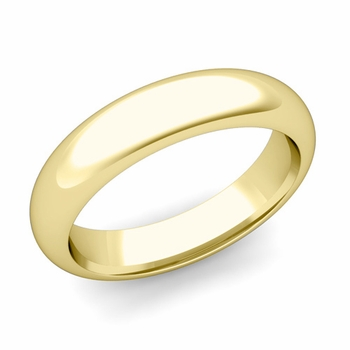 Dome Comfort Fit Wedding Band in 18k White or Yellow Gold, Polished Finish, 5mm