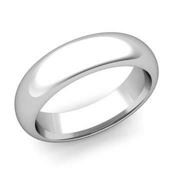 Dome Comfort Fit Wedding Band in 14k White or Yellow Gold, Polished Finish, 6mm