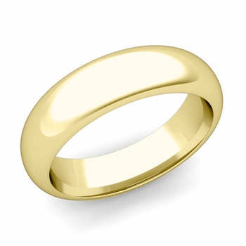 Dome Comfort Fit Wedding Band in 18k White or Yellow Gold, Polished Finish, 6mm