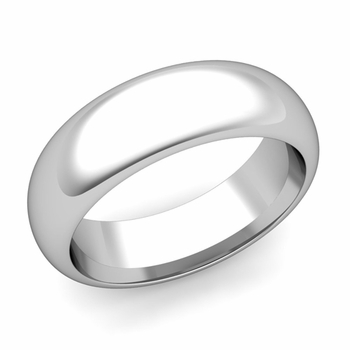 Dome Comfort Fit Wedding Band in 14k White or Yellow Gold, Polished Finish, 7mm