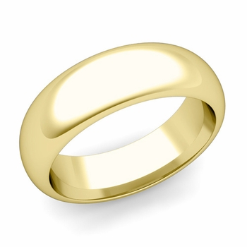 Dome Comfort Fit Wedding Band in 18k White or Yellow Gold, Polished Finish, 7mm