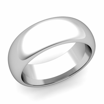 Dome Comfort Fit Wedding Band in 14k White or Yellow Gold, Polished Finish, 8mm