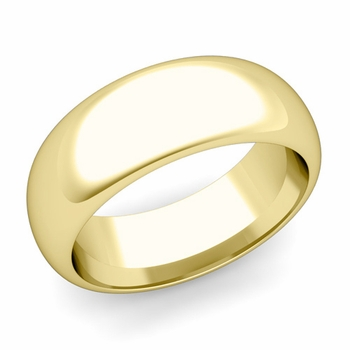 Dome Comfort Fit Wedding Band in 18k White or Yellow Gold, Polished Finish, 8mm