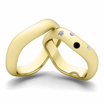 Matching Wedding Band in 18k Gold Curved Black and White Diamond Wedding Ring