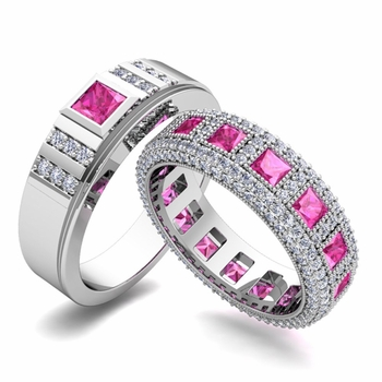 Matching Wedding Band in Platinum Princess Cut Pink Sapphire and Diamond Ring