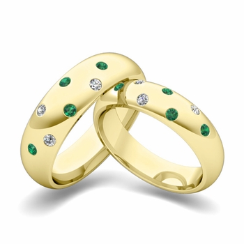 Matching Wedding Bands: Scattered Diamond and Emerald Wedding Ring in 18k Gold