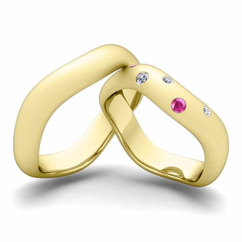 Matching Wedding Band in 18k Gold Curved Diamond and Pink Sapphire Wedding Ring