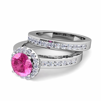 Halo Bridal Set: Diamond and Pink Sapphire Engagement Wedding Ring in Platinum, 7mm