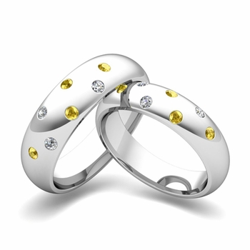 Matching Wedding Bands: Scattered Diamond and Yellow Sapphire Wedding Ring in 14k Gold