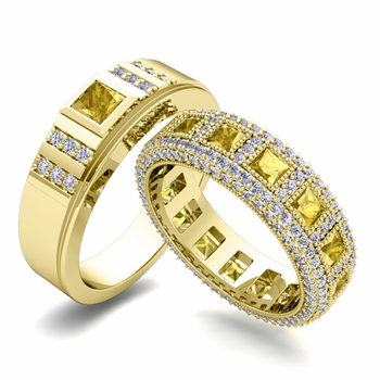 Matching Wedding Band in 18k Gold Princess Cut Yellow Sapphire and Diamond Ring